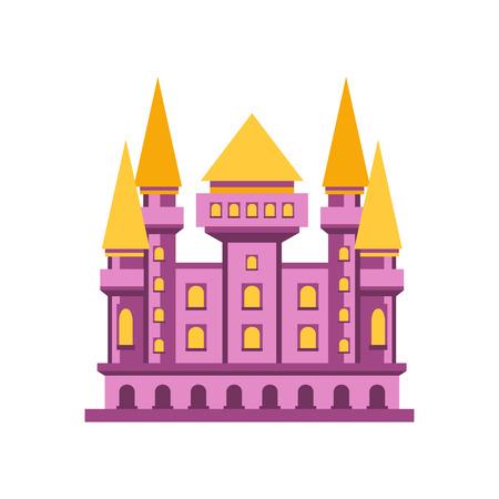 Purple fairytale royal castle or palace building vector illustration