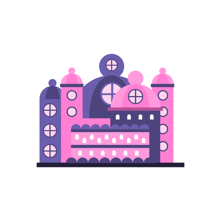 Colorful majestic palace building vector illustration