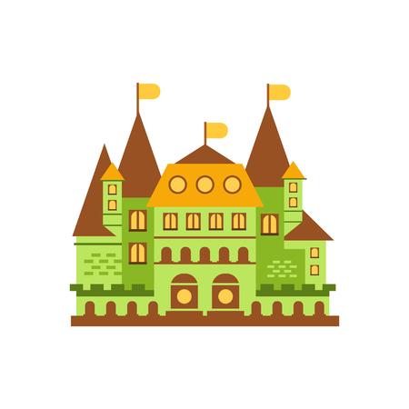 Green fairytale royal castle or palace building vector illustration Ilustração
