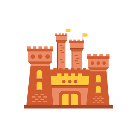 Fortress or stronghold with fortified wall and towers, medieval building vector illustration Illustration