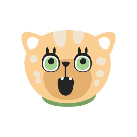 Cute curious kitten head, funny cartoon cat character, adorable domestic pet vector illustration