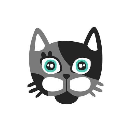 かわいい黒と灰色の猫、動物の面白い漫画のキャラクター、愛らしい国内ペット ベクトル図
