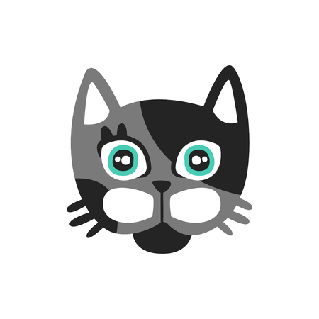 Cute black and gray cat head, funny cartoon animal character, adorable domestic pet vector illustration