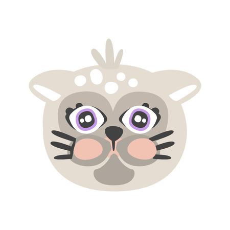 かわいいグレー猫頭、動物の面白い漫画のキャラクター、愛らしい国内ペット ベクトル イラスト