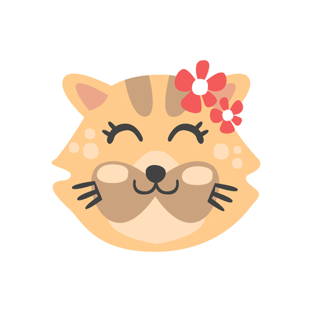 Cute cat head with closed eyes, funny cartoon animal character, adorable domestic pet vector illustration