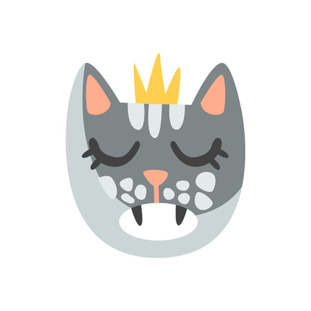 Cute cat head in golden crown, funny cartoon animal character, adorable domestic pet vector illustration