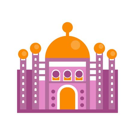 Purple majestic palace building vector illustration