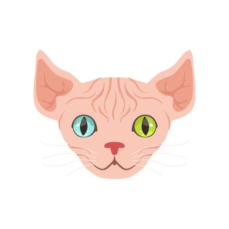 さまざまな色、変な漫画動物の文字ベクトル図の目のかわいいスフィンクス猫