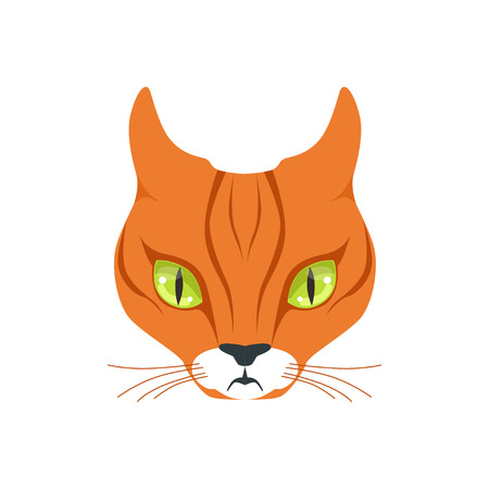 Beautiful red cat, cartoon animal character vector illustration Иллюстрация
