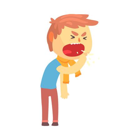 Ziek jongenskarakter die met vuist voor zijn vectorillustratie van het mondbeeldverhaal hoesten