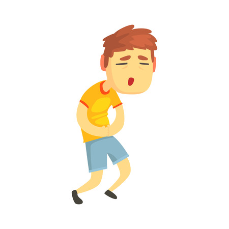 Unhappy boy suffering from stomach ache cartoon character vector illustration 일러스트