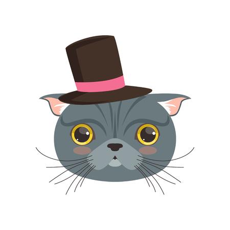 gray cat: Cute british cat wearing black top hat, funny cartoon animal character vector illustration