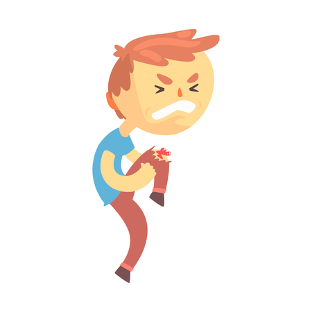 Boy character with wound on his knee cartoon vector illustration
