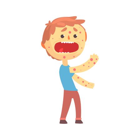 Erschrockener Jungencharakter mit einem Hautausschlag auf seiner Karosserienkarikatur-Vektorillustration