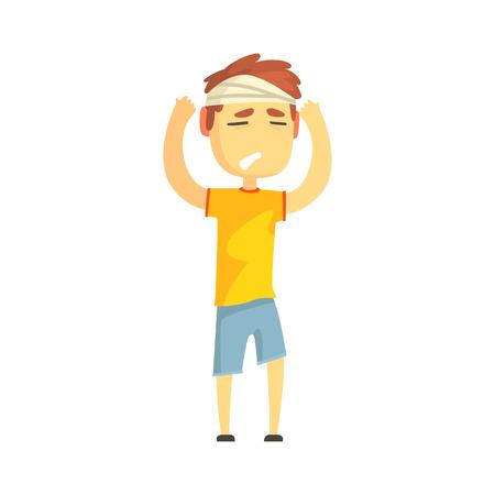 Jongen met verbonden hoofd die aan de pijnlijke vectorillustratie van het hoofdpijnbeeldverhaal lijden Stock Illustratie