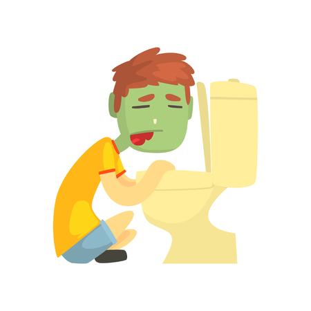 トイレ ボウル漫画キャラのベクトル イラストに嘔吐病気の男の子