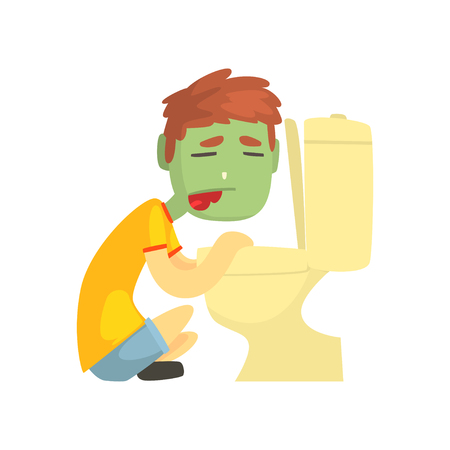 Sick boy vomiting into the toilet bowl cartoon character vector illustration