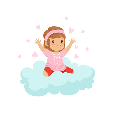 Sweet little girl sitting on cloud surrounded by pink hearts, kids imagination and dreams vector illustration