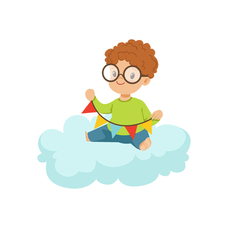 Cute little boy sitting on cloud playing with party flags, kids imagination and dreams vector illustration