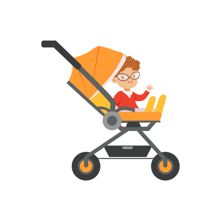 Cute little boy in glasses sitting in an orange baby carriage, safety handle transportation of small kids vector illustration
