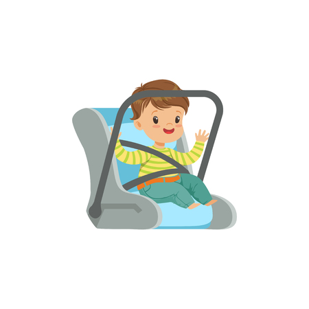 Cute little boy sitting in car seat, safety car transportation of small kids vector illustration