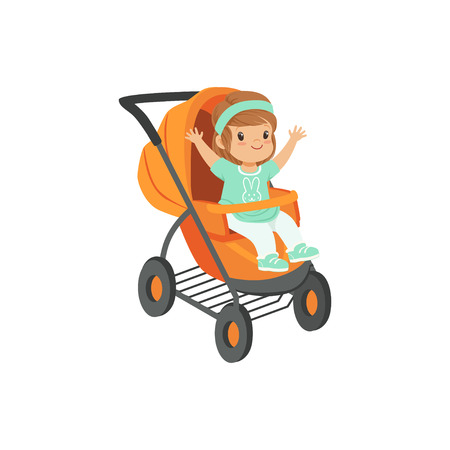 Adorable little girl sitting in an orange baby carriage, safety handle transportation of small kids vector illustration Çizim