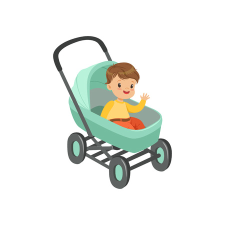 Cute little boy sitting in a turquoise baby pram, safety handle transportation of small kids vector illustration Ilustrace