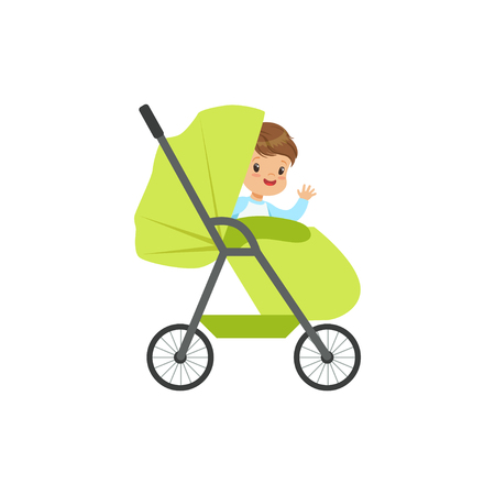 Cute little boy sitting in a green baby pram, safety handle transportation of small kids vector illustration
