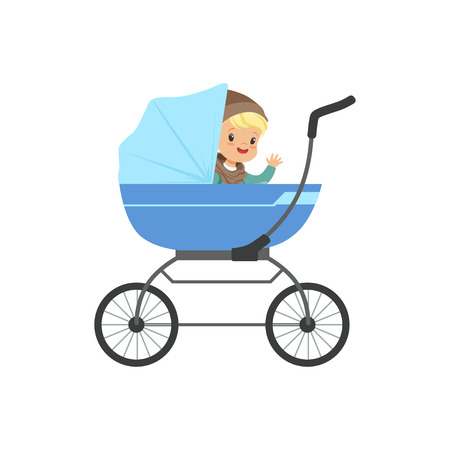 Cute little boy sitting in a blue baby pram, safety handle transportation of small kids vector illustration Иллюстрация