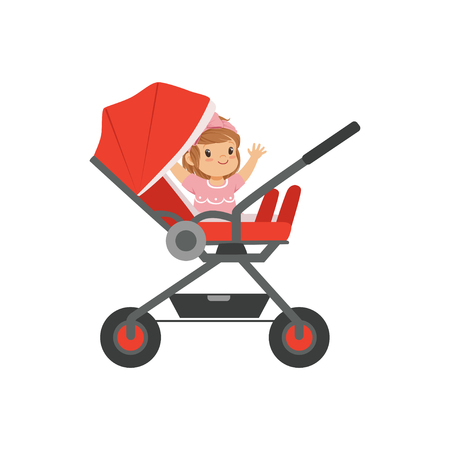Adorable little girl sitting in a red baby carriage, safety handle transportation of small childrens vector illustration Ilustrace