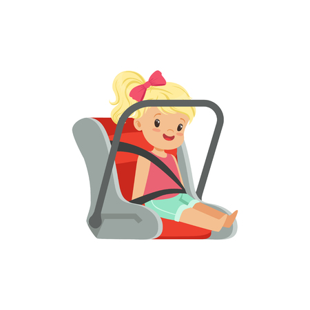 Sweet little girl sitting in car seat, safety car transportation of small kids vector illustration