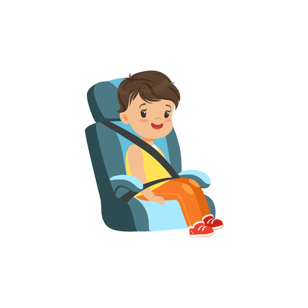 Cute little boy sitting in blue car seat, safety car transportation of small kids vector illustration Illustration