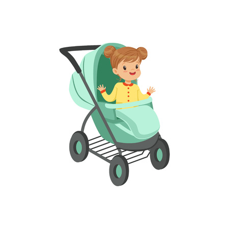 Adorable little girl sitting in an turquoise baby stroller, safety handle transportation of small kids vector illustration