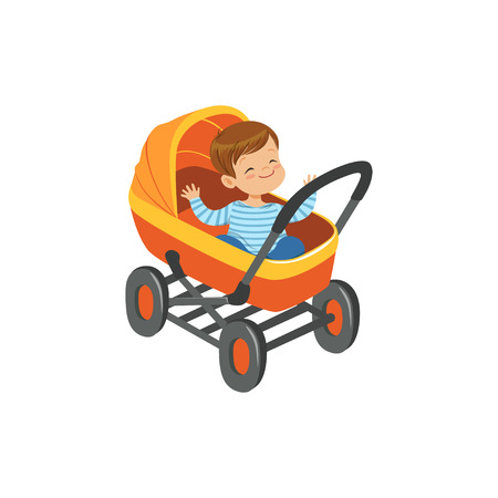 Cute little boy sitting in an orange baby pram, safety handle transportation of small kids vector illustration