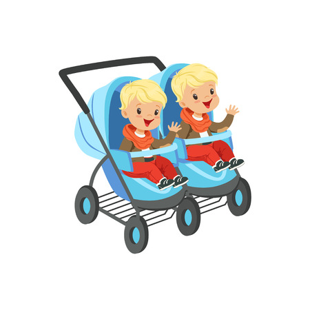 Cute little boys sitting in a blue baby carriage for twins, safety handle transportation of small kids vector illustration 일러스트