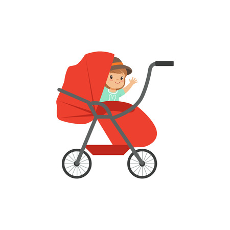 Cute little kid sitting in a red baby pram, safety handle transportation of small childrens vector illustration