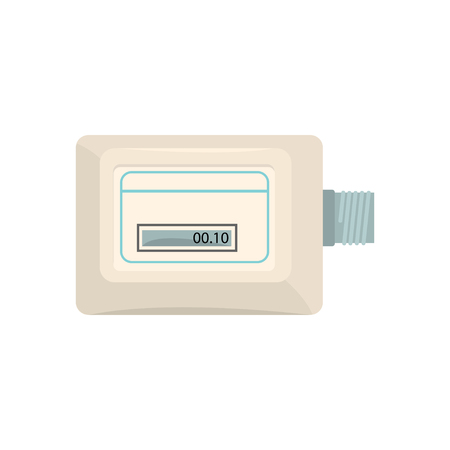 White electronic measuring counter, household measuring device vector illustration