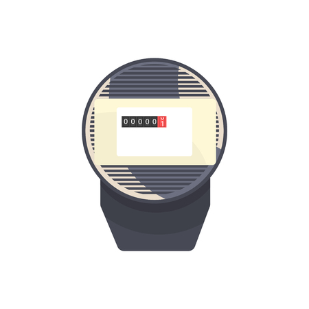 Black typical analog electric meter, household measuring device vector illustration