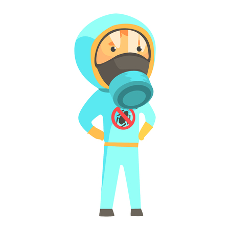 Exterminator in blue protection uniform, pest control service cartoon vector illustration