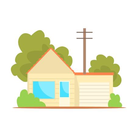 Suburban family house cartoon vector illustration