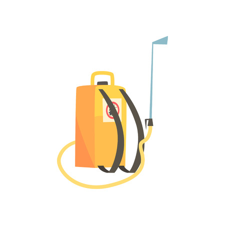 Orange pressure sprayer for extermination of insects, pest control service cartoon vector illustration
