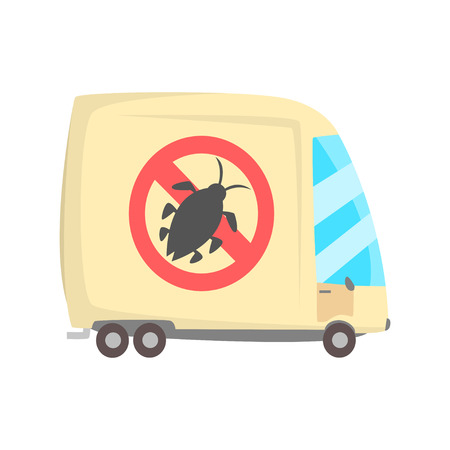 Pest control service van cartoon vector illustration