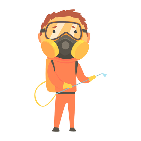 Exterminator in orange protection uniform and face mask, pest control service cartoon vector illustration