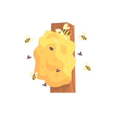 벌집, hornets 또는 wasp 둥지 만화 벡터 일러스트 레이 션