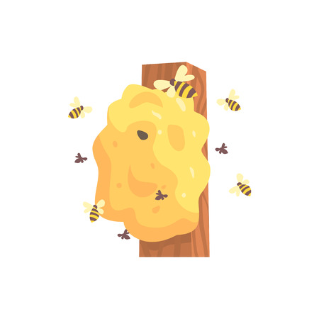 Beehive, hornets or wasp nest cartoon vector illustration Ilustração