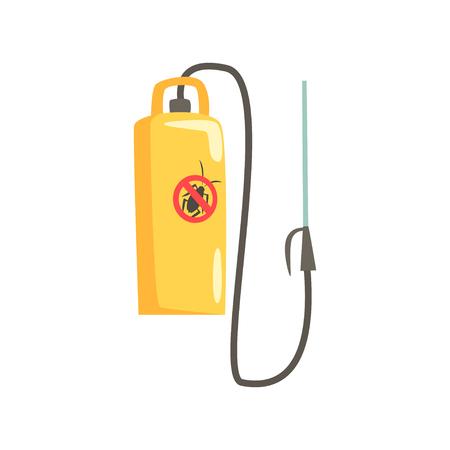 Pulvérisateur manuel jaune pour l'extermination des insectes, illustration vectorielle de dessin animé de service de lutte antiparasitaire Banque d'images - 86317601