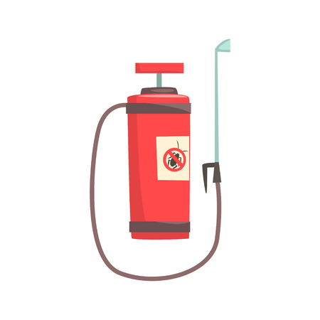 Red pressure sprayer for extermination of insects, pest control service cartoon vector illustration