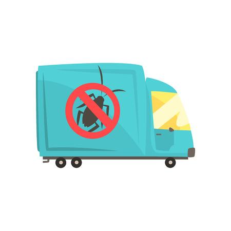 Blue exterminator truck, pest control service cartoon vector illustration Çizim