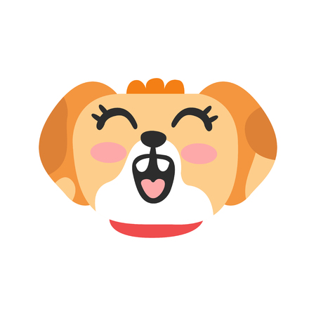 かわいい笑顔の犬の頭、面白い漫画の動物のキャラクター、愛らしい国内のペットベクターイラスト