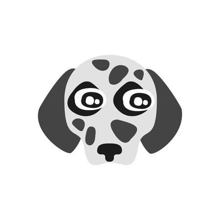 Leuk Dalmatisch hondhoofd, grappig beeldverhaal dierlijk karakter, aanbiddelijke binnenlandse huisdieren vectorillustratie